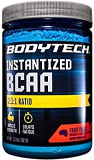 BodyTech BCAA (Branched Chain Amino Acid) Fruit Punch Optimal 2:1:1 Ratio Supports Muscle Recovery Endurance (11.5 Ounce P...