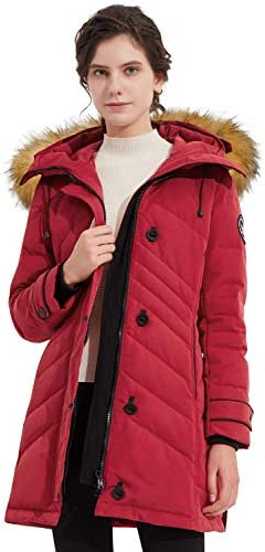 Orolay Women s Hooded Slim Puffer Jacket Quilted Mid Length Winter Down CoatRed XS product image