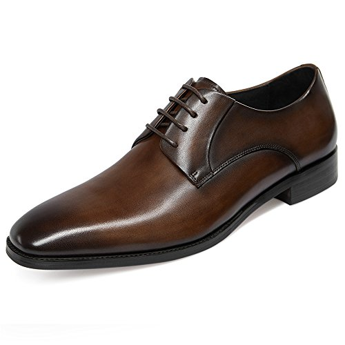 GIFENNSE Mens Leather Oxford Dress Shoes Formal Lace Up Modern Shoes 10.5US Dark Brown