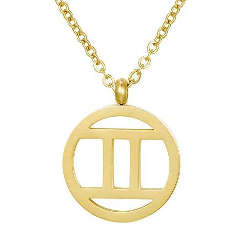 Morella Collar Acero Inoxidable Oro con Colgante Signo del Zodiaco Géminis en Bolsa de Terciopelo