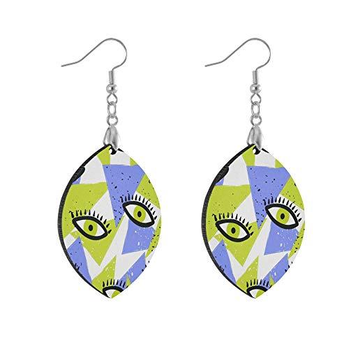 ADMustwin Wooden Earrings Eyes Geometric Print for Women Girls Silver Plated Copper Earrings leaf Earrings Lightweight Dangle Earrings Fashion Jewelry