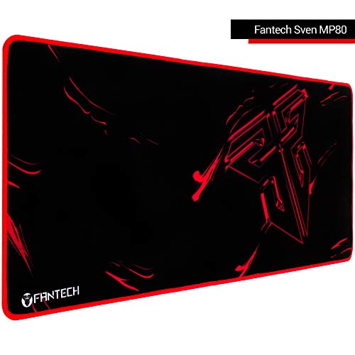 Fantech Large Gaming Mouse Pad Sven MP80, Keyboard Mouse Mat with Durable Stitched Edges, Water-Resistant, Non-Slip Base, 31.5×11.81×0.12 Inch, Black-Red