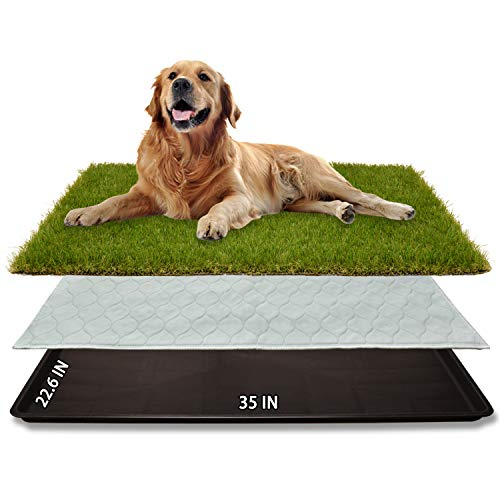 "Dog Grass Large Potty Patch (35""X22.6""), Artificial Dog Grass Bathroom Turf for Pet Training, Washable Puppy Pee Pad, Perfect Indoor/Outdoor Portable Potty Pet Loo"