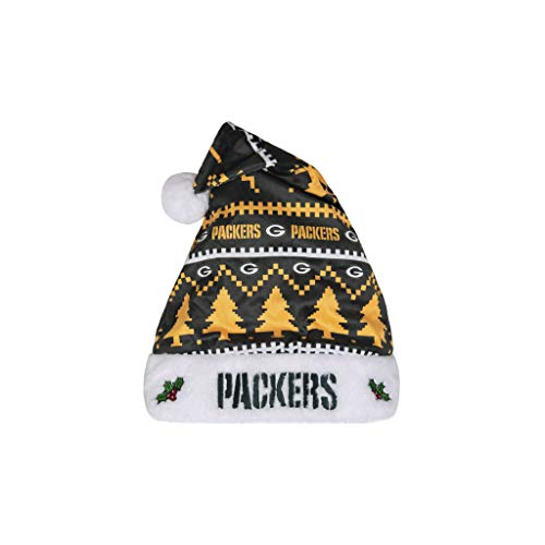 FOCO NFL Green Bay Packers Plush Holiday Family Santa Hat CapPlush Holiday Family Santa Hat Cap, Team Color, One Size