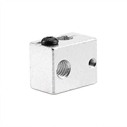 1Pcs Reprap 3D Printer Extruder V6 Aluminum Heater Block All-Metal Extruder For HotEnd 20x16x11.5mm (Size : Silver) (Size : Silver)