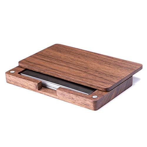 KunmniZ Caja de madera vintage hecho a mano titular de la tarjeta de nombre de negocios madera escritorio regalo ahorro de espacio decoración del hogar almacenamiento gestión accesorios