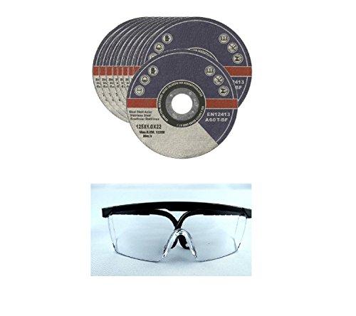 10 Stück EK INOX Trennscheiben 125 x 1,0 x 22,23 mm I inkl. Schutzbrille