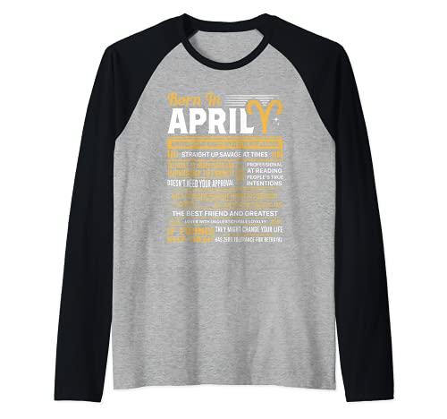 Born In April Aries - Regalo de cumpleaños divertido Camiseta Manga Raglan