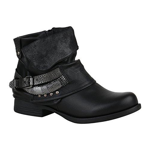 Damen Biker Boots Nieten Schnallen Stiefeletten Gr. 36-42 Schuhe 133014 Schwarz 37 Flandell