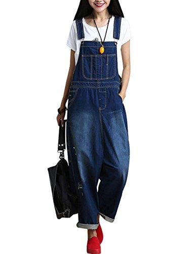 Youlee Damen Sommer Breites Bein Hose Denim Latzhose Overall Hosen Style 8 Blue