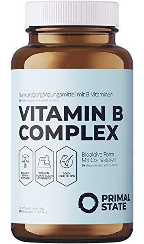 Vitamin B Komplex hochdosiert vegan - alle acht B-Vitamine - Bioaktiv & mit Co-Faktoren - B1, B2, B3, B5, B6, B12, D-Biotin & Folat - Premium - 90 Kapseln (3-Monatspackung)