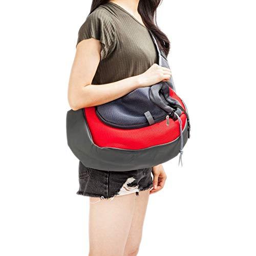 Hemao Haustierträgerschling, Haustier-Messenger Bag, Haustier-Umhängetasche mit atmungsaktivem Mesh-Beutel, Haustier-Reise-Rucksack für Haustiere zum Gehen,Rot,S