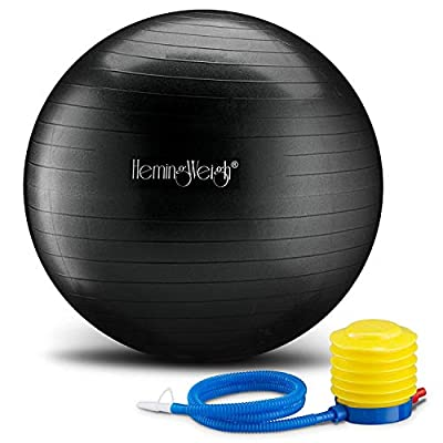 HemingWeigh Static Strength Exercise Stability Ball with Foot Pump | Perfect For Fitness Stability and Yoga | Helps Improve Agility, Core Strength, and Balance