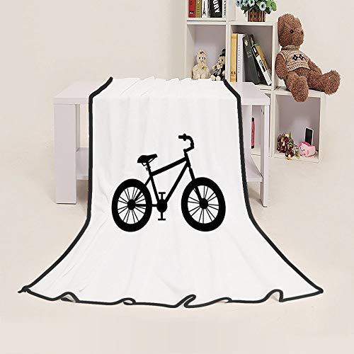 Lightweight Blanket Wedding Gift Blanket Outdoor Beach Indoor Couch Sofa Blanket - Soft and Cozy Blanket Throw (50 x60 inches) for Kids and Families All Seasons - Silhouette-of-Mountain-Bike
