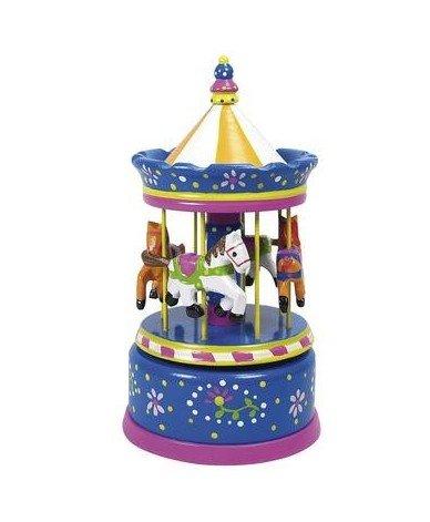 Ulysse - Boite à musique Manège Carrousel Jouet musical en bois décoration Enfant Bébé - Bleu