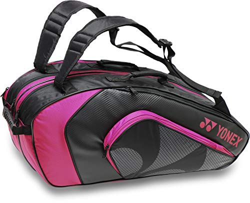ヨネックス ラケット バッグ テニス バドミントン リュック バックパック 6本 収納 硬式 軟式 男女兼用/ボックス ラケットバッグ6(リュック付) BAG1922R (747-ブラック/ローズピンク)