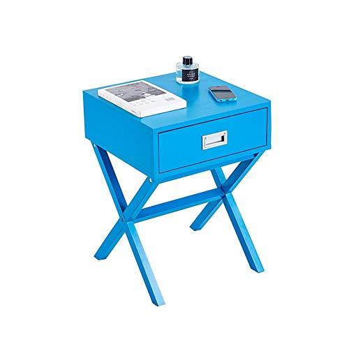 ZHAOYONGLI Table D'appoint Basse Tables Basses Café Informatique Table Table Basse Carrée, Table Basse avec Tiroirs, Table De Téléphone en Bois (Couleur : Bleu foncé, Taille : 40 * 55cm)