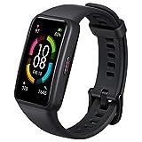HONOR Band 6 Smartwatch Fitness Tracker Monitorowanie SpO2, Tętno i Sen 24/7, Wyświetlacz Dotykowy AMOLED 0,95 Cala, Zakrzywiony Ekran 2.5D, Sportowy Monitor Aktywności, Czarny (HONOR Band 6)