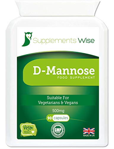D-Mannose Capsules - 500mg x 90 - Urinary Tract Infection, UTI and Cystitis Treatment for Women and Men - Bladder Pain Relief, Prevention and Support - 1500mg Per Recommended Serving