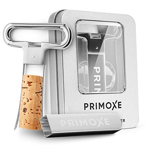 Primoxe Ah So Two Prong Wine Cork Remover with Bottle Opener - Professional Stainless Steel Puller - Extractor For Opening & Vintage Collecting - Perfect Gift for Connoisseurs & Collectors to Uncork