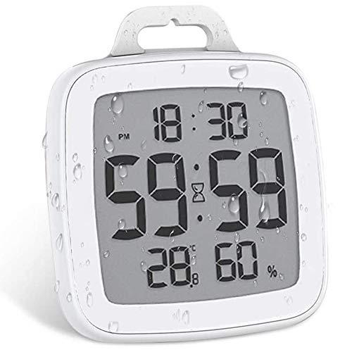 Powcan Orologio Digitale LCD per Doccia, Orologio da Bagno Impermeabile con Ventosa, igrometro, termometro, Orologio da Parete Orologio da Cucina Timer da Cucina (Bianco)