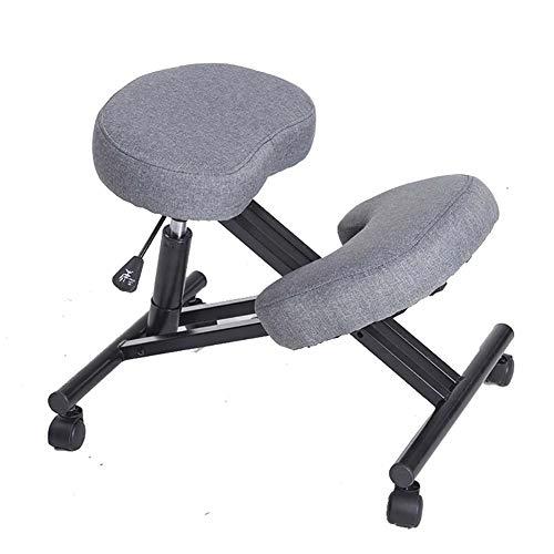 Ergonomia regolabili Sedia ergonomica Sgabello for ginocchio for ginocchiere migliore postura home office o sedia da scrivania, con la rotella comodi (Colore : Grey)