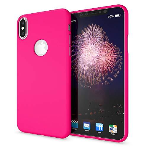 NALIA Handyhülle kompatibel mit Apple iPhone XS Max, Ultra-Slim TPU Hülle Silikon Neon Hülle, Dünnes Cover Gummi Schutzhülle Skin, Etui Handy-Tasche Backcover Smartphone Bumper, Farbe:Pink
