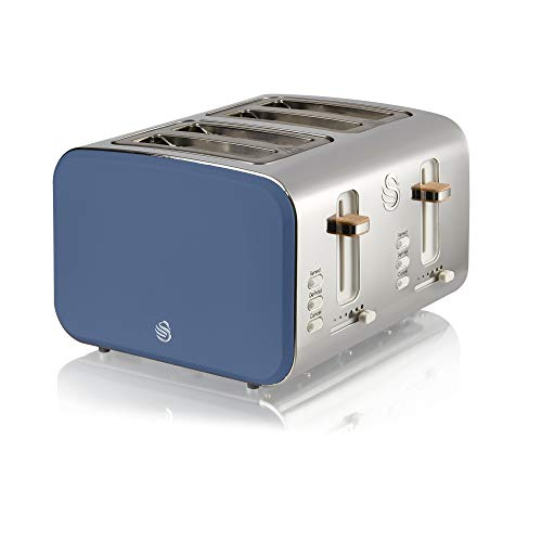 Swan Nordic 4 Slice Toaster, Blue, 1500W, Scandi Style, Independent Browning Controls