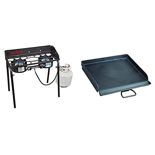 "Camp Chef Explorer Double Burner Stove & Professional 14"" x 16"" Fry Griddle"