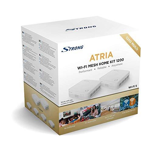 STRONG Wi-Fi Mesh Home Kit 1200, WLAN Verstärker, Heimnetzwerk Repeater bis 200 m² Abdeckung, bis 1200 Mbit/s, 2.4+5 GHz, 3 x Gigabit LAN, schwarz MESHKIT1200 Atria