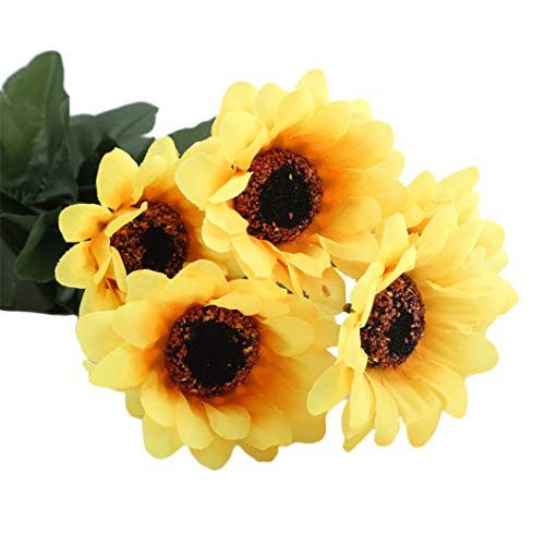 SJHFG - Ramo de flores artificiales de girasol, 7 cabezas para el hogar, hogar, boda, aniversario, accesorios de decoración