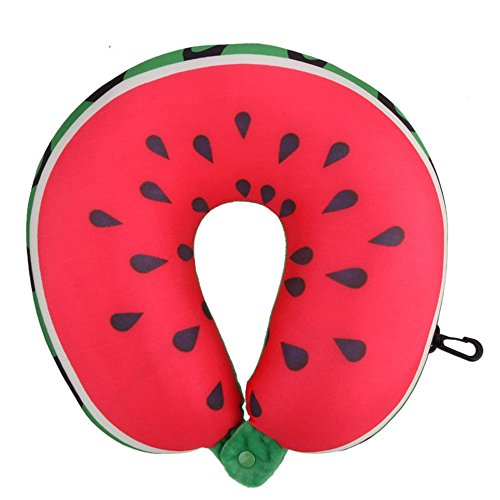 U Shaped Neck–Airplan Cojín Sandía Fruta de patrón cojín nanopartículas Masaje Cojín cervical Auto almohada de viaje