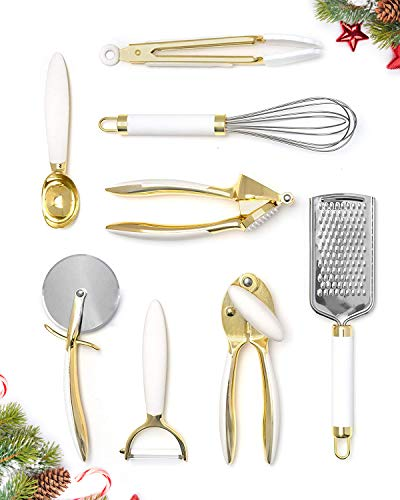 White & Gold Kitchen Tools and Gadgets - Luxe 8PC Cooking Tools and Gadgets with Anti-Slip Handles, Gold Utensils Set, Gold Kitchen Accessories and White Kitchen Utensil Set,Premium Kitchen Gadget Set