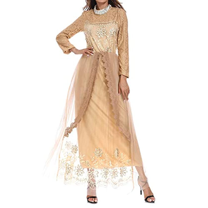 ? Hypothesis_X ? Muslim Maxi Dresses with Long Sleeves,Women's Dresses Maxi Dress Lace Abaya Long Skirt