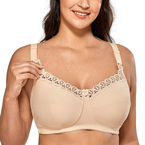 Gratlin Women's Cotton Wirefree Soft Plus Size Maternity Nursing Bra with Lace Beige 34G