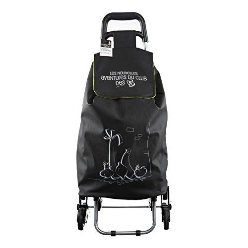 ENTRE TEMPS SH1523 - Carrito de la Compra para Caminar Shopping Ludik, Impermeable, 6 Ruedas, PVC, Negro, 40,5 x 37 x 93,2 cm