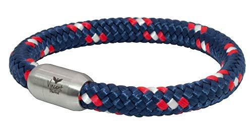 Vincent Blackbird Poseidon Segeltau Armband blau I weiss I rot - Handgemacht in Geschenkverpackung I dick & auffällig (22)