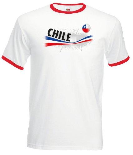 world-of-shirt Herren T-Shirt Chile Vintage Retro Trikot|XXL