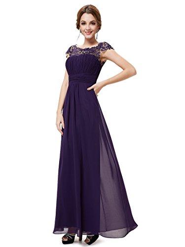 Ever-Pretty Vestido de Fiesta Encaje Gasa Cuello Redondo Corte Imperio A-línea para Mujer Morado Oscuro 36