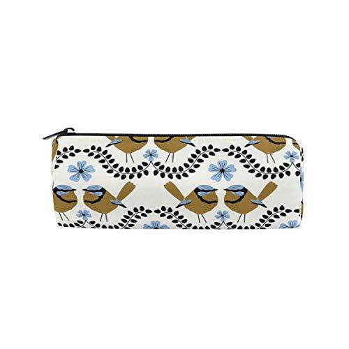 Zylinder-Federmäppchen, rund, mit blauem Zaun und wiederholtem Muster, für Büro, Multifunktionstasche mit Reißverschluss für Studenten, Männer, Frauen