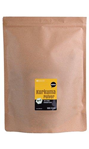 Wohltuer Bio Kurkuma Pulver | Kurkumawurzel gemahlen (1000g) Vorratspackung | Curcuma in Bio- & Rohkostqualität