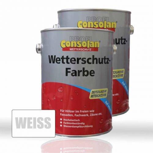2 x Consolan Wetterschutzfarbe weiss 2,5l (5 Liter)