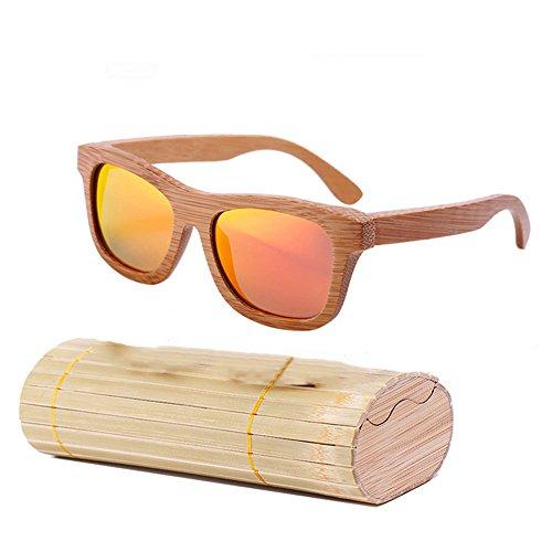 lzndeal - Occhiali da sole in legno di bambù, unisex, lenti polarizzate protettive, con custodia, Rouge avec Boîte