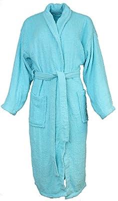Sindrella Women's 100% Cotton Terry Classic Bathrobe, OS, Two Pockets