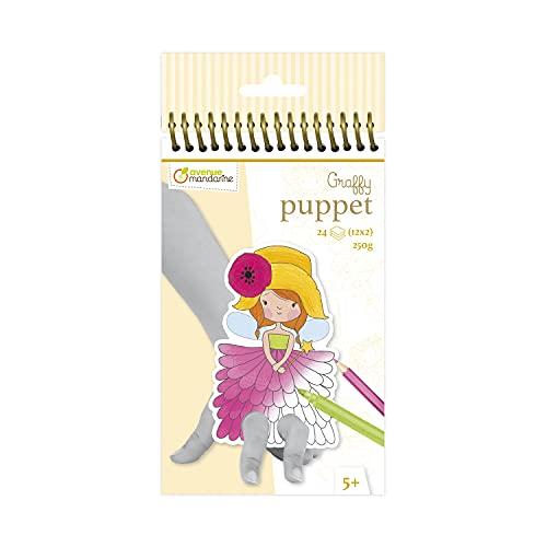 Avenue Mandarine Graffy Pop - Marionetas de dedos para colorear, diseño de hadas (negro/blanco) , color/modelo surtido