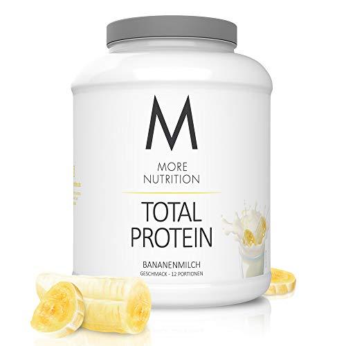 MORE NUTRITION Total Protein Eiweiß-Pulver mit Whey und Casein – 600 g Bananenmilch (+ weitere Sorten) - Mit Aminosäuren und Laktase – Anti-Heißhunger, Gewichtsmanagement und Muskelaufbau