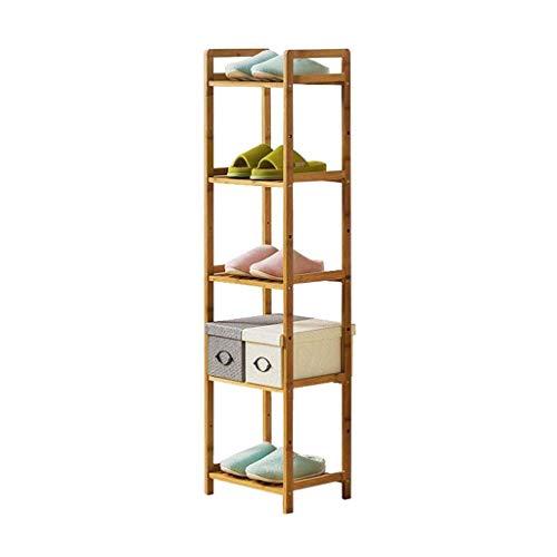 LHQ-HQ Zapatero ajustable de bambú de 5 niveles torre de almacenamiento botas apilables pasillo de madera maciza organizador estantes DIY montaje
