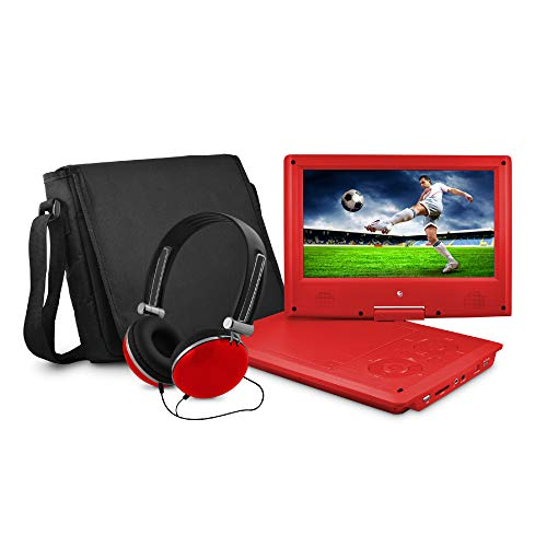 Ematic Portable DVD Player with 9-inch LCD Swivel Screen, Travel Bag and Headphones, Red