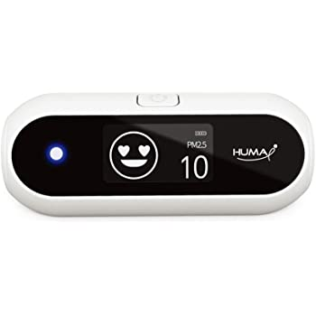 Huma-i (HI-100), Advanced Portable Air Quality Monitor Indoor Outdoor Which Measures Particle Matter (PM2.5 and PM10), White