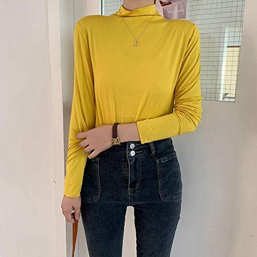 Camisa De Mujer Algodón Cuello Alto Cuello Alto Manga Larga Mujer Elástico Suave Casual Suave Adecuado para Varias Escenas-Amarillo